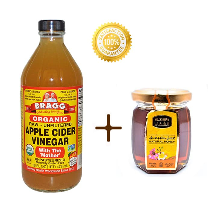 BRAGG Apple Cider Vinegar 473 Ml + Natural Madu Arab Al Shifa Original