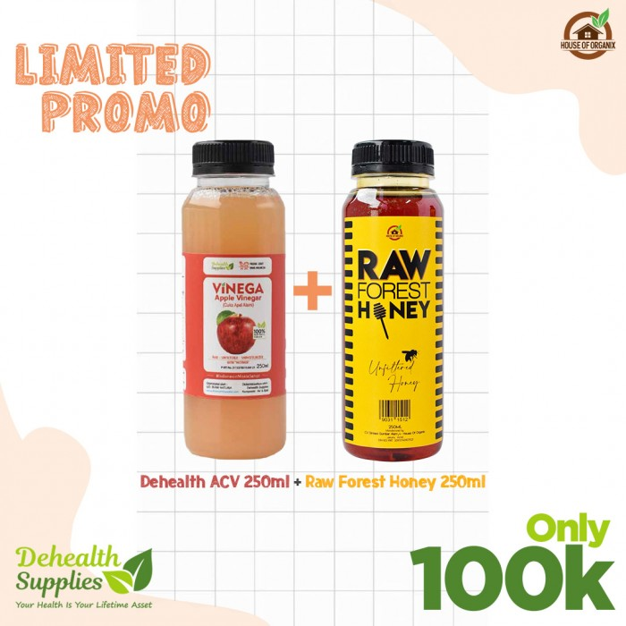 Promo Dehealth ACV 250 Ml + Hofo Raw Forest Honey 250 Ml